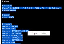 Naze32 CLI Dump Select