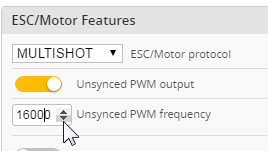 Betaflight configurator - Unsynced PWM output